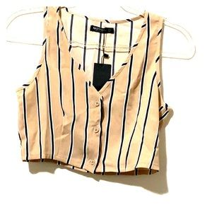 Nasty Gal cropped  striped blouse size 4